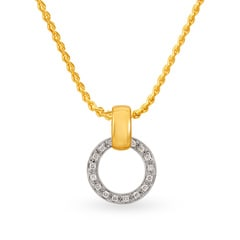 Tanishq Diamond Treats 18KT Yellow Gold Diamond Pendant with Circular Design