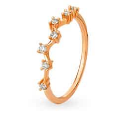 Tanishq Mangalam 18KT Rose Gold Diamond Finger Ring With Zig-Zag Design