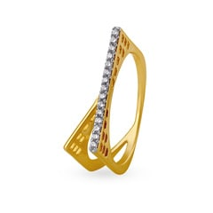 Tanishq Mangalam 18KT Yellow Gold Diamond Finger Ring