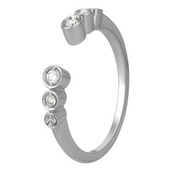 Tanishq Mangalam 18KT White Gold Diamond Finger Ring with Open-Ended Design