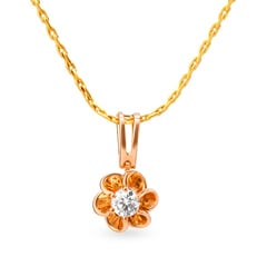 Tanishq Mangalam 18KT Rose Gold Diamond Pendant with Floral Design