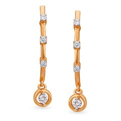Tanishq Mangalam 18KT Rose Gold Diamond Hoop Earrings