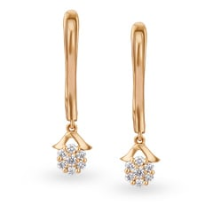 Tanishq Mangalam 18KT Rose Gold Diamond Hoop Earrings with Floral Design