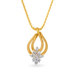 Tanishq 18KT Yellow Gold Diamond Pendant