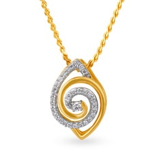 Tanishq Mangalam 18KT Yellow Gold Diamond Pendant with Eye Design
