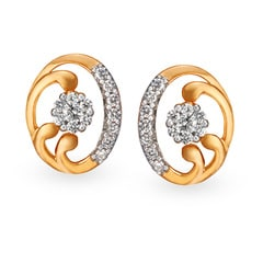 Tanishq Mangalam 18KT Rose Gold Diamond Stud Earrings with Oval Design