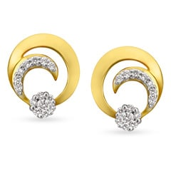 Tanishq Mangalam 18KT Yellow and Rose Gold Stud Earrings