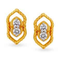 Tanishq Mangalam 18KT Yellow Gold Diamond Stud Earrings