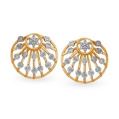 Tanishq Mangalam 18KT Yellow and White Gold Diamond Stud Earrings