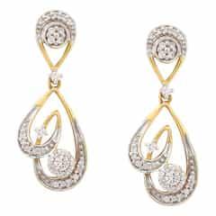 Tanishq Zuhur Yellow Gold Drop Earrings With Stylized Teardrops