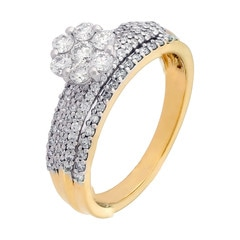 Tanishq Zuhur 18KT Yellow Gold Diamond Finger Ring with Floral Design