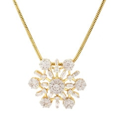 Tanishq Zuhur Yellow Gold Pendant With Studded Dandelion Motifs