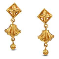 Tanishq 22KT Yellow Gold Drop Earrings for Women