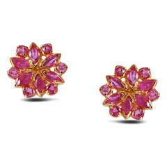 Tanishq 22KT Yellow Gold Ruby Earrings for Women
