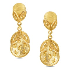 Tanishq 22KT Yellow Gold Drop Earrings with Circle Design