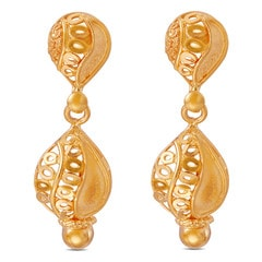 Tanishq 22KT Yellow Gold Drop Earrings with Ribbed Detail