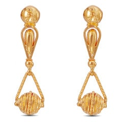Tanishq 22KT Yellow Gold Drop Earrings with Triangle Design