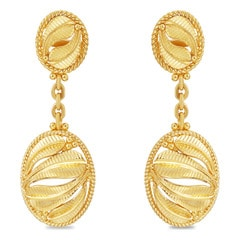 Tanishq 22KT Yellow Gold Drop Earrings with Circular Design