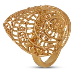 Tanishq 22KT Yellow Gold Finger Ring with Leaf Design