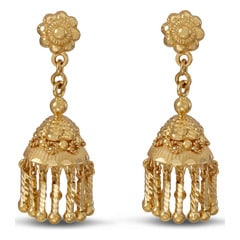 Tanishq 22KT Yellow Gold Drop Earrings with Jhumkha Design