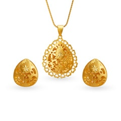 Tanishq 22KT Yellow Gold Pendant Set