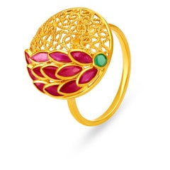 Tanishq 22KT Yellow Gold Ruby Finger Ring