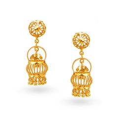 Tanishq 22KT Yellow Gold Jhumka Earrings