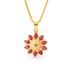 Tanishq 22KT Yellow Gold Ruby Pendant
