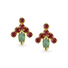 Tanishq 22KT Yellow Gold Ruby Stud Earrings