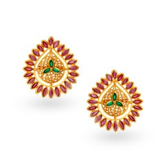 Tanishq 22KT Ruby Gold Stud Earrings
