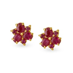 Tanishq 22KT Yellow Gold Ruby Stud Earrings
