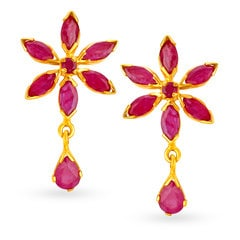 22KT Gold and Ruby Drop Earrings