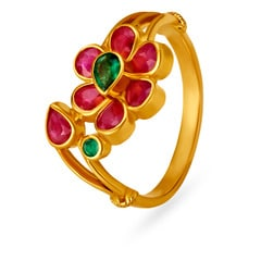 22KT Gold Emerald and Ruby Finger Ring