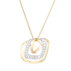 Tanishq Mia 14KT Yellow Gold Diamond Pendant with Tilted Square Design
