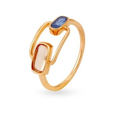 Mia by Tanishq 14KT Rose Gold Blue Topaz & Fusion Finger Ring
