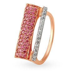 Mia Glam by Tanishq 14KT Rose Gold Cubic Zirconia Finger Ring