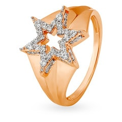 Mia Glam by Tanishq 14KT Rose Gold Cubic Zirconia Finger Ring with Star Design