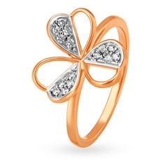 Mia by Tanishq 14KT Rose Gold Diamond Finger Ring with Floral Design
