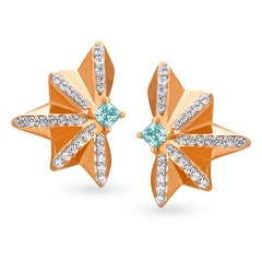 Mia Glam by Tanishq Mia Glam 14KT Rose Gold Cubic Zirconia Stud Earrings