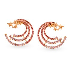 Mia Glam by Tanishq 14KT Yellow and Rose Gold Cubic Zirconia Stud Earrings