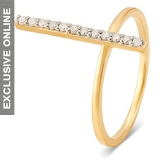Tanishq Fine Line 18KT Yellow Gold and Diamond Finger Ring