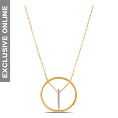 Tanishq Fine Line 18KT Yellow and White Gold Pendant and Chain