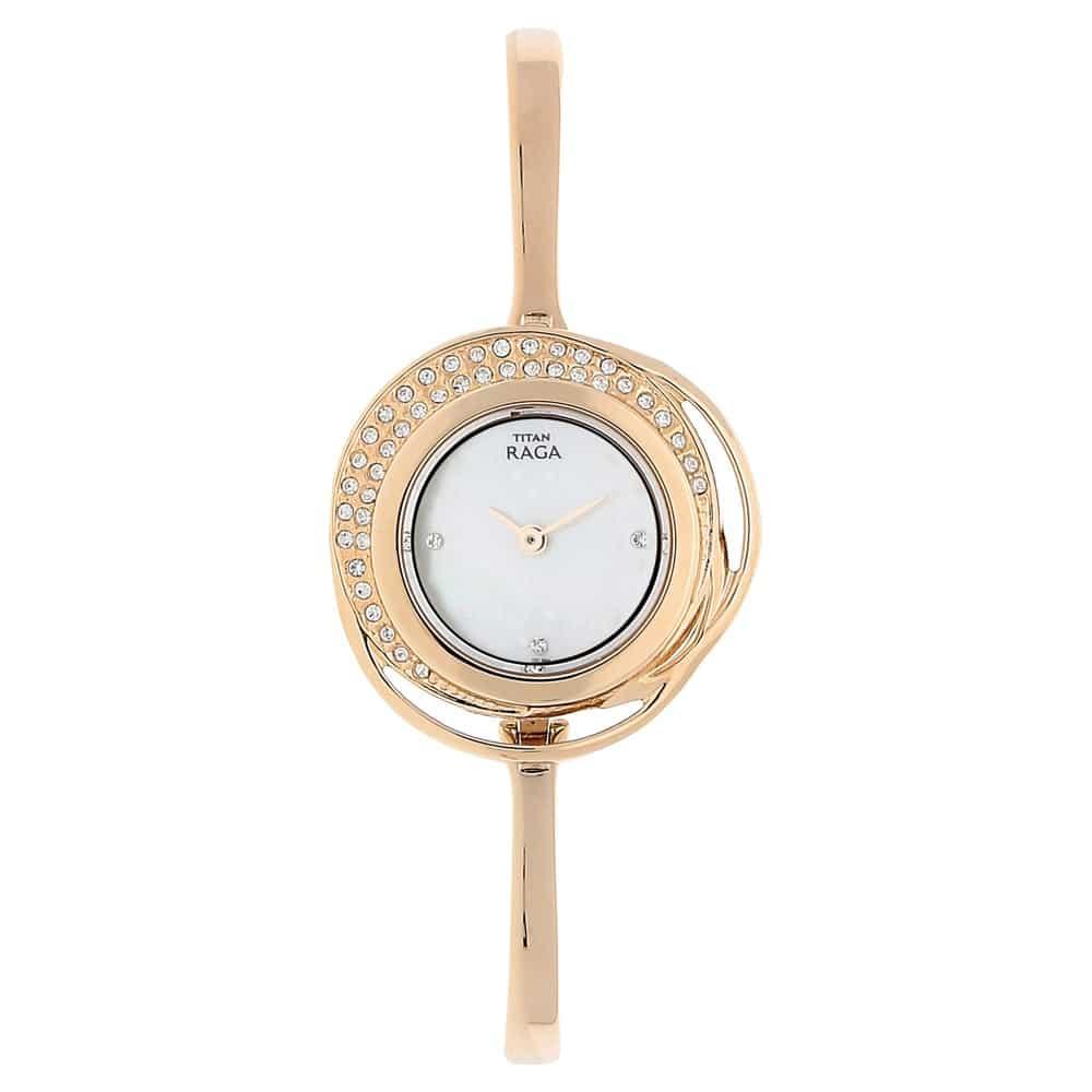 Buy Titan Round Dial Rose Gold Ladies Watch 95003WM01J ...