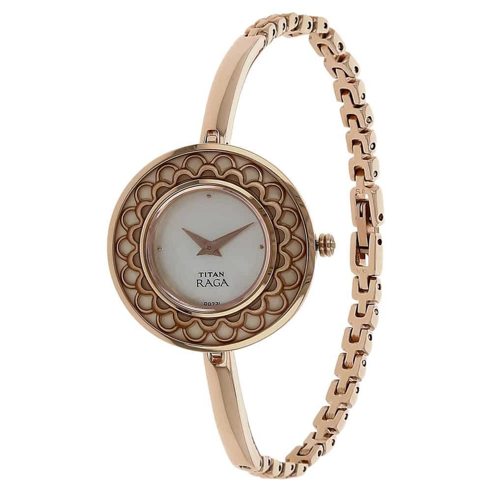 buy titan raga female analog rose gold watch 2530wm01 at