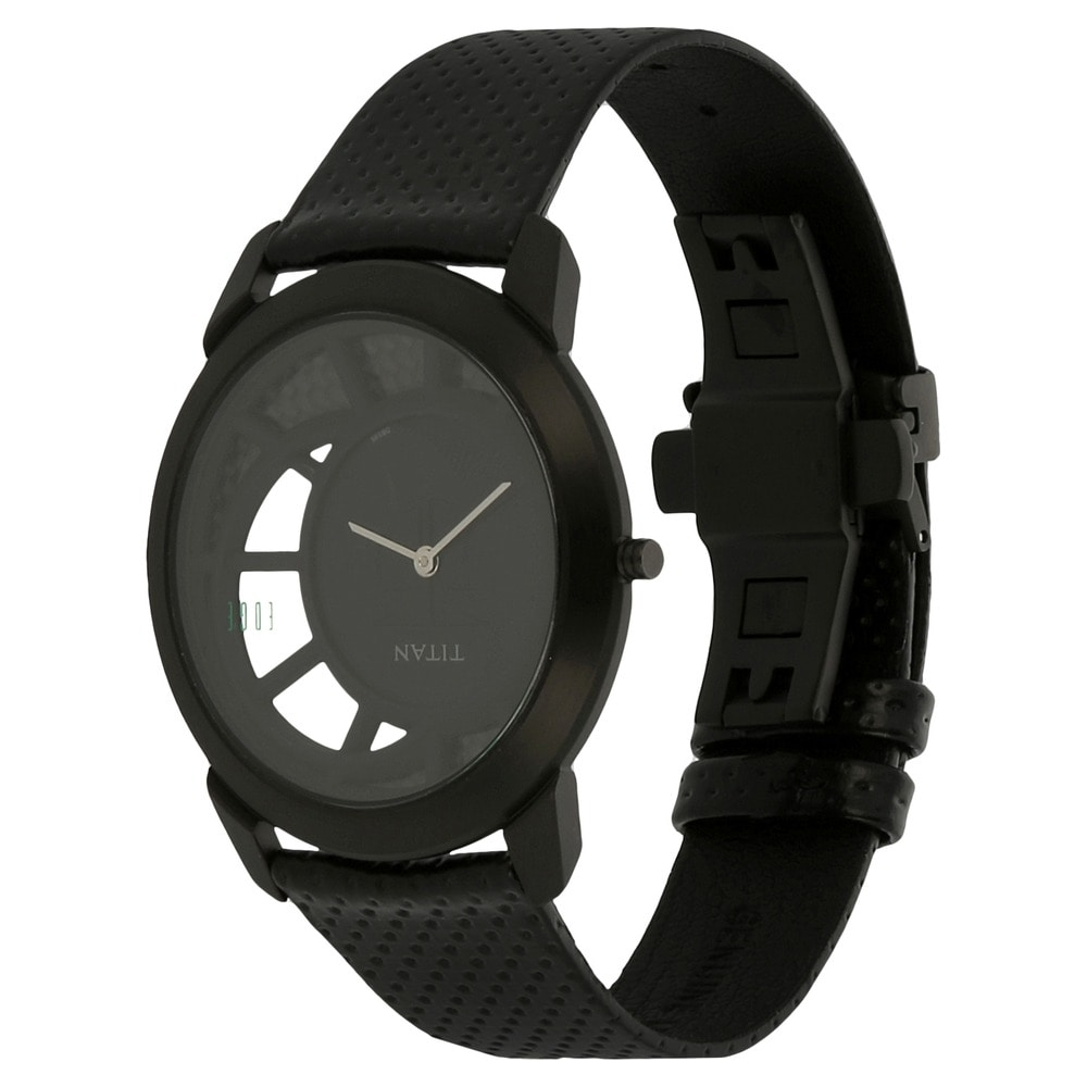 titan watches en leather regular men edge watch in