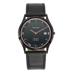 Titan Edge Black Dial Analog Watch with Date Function for Unisex