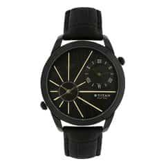 Titan Globe Trotter Black Dial Analog Dual Time Watch for Men