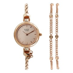 Rose Gold Dial Metal Strap Watch for Women