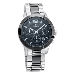Titan Ceramics Black Dial Chronograph with Date Watch for Men