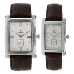 Titan Bandhan Mother of Pearl Dial Analog Pair Watches
